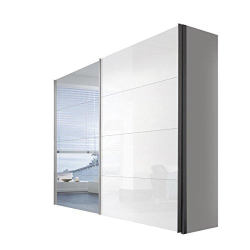 Express Möbel 47590-203 Schwebetürenschrank 2-türig, Korpus polarweiß, Front lack weiß, Spiegel, Griffleisten alufarben, 68 x 250 x 216 cm