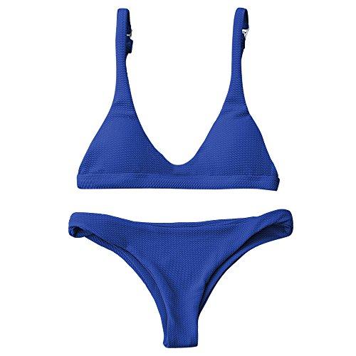 ZAFUL Damen Bikinis Triangle Bikini Set Badeanzug Push-up Bademode Swimsuit Swimwear(Sapphire Blau M)