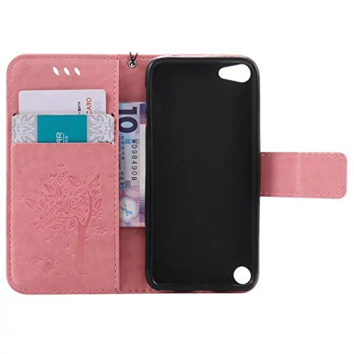 iPhone Case Cover Solide Couleur chanceux Arbre et Cat haut de gamme en cuir PU gaufrage Motif flip stand Case Cover avec carte et espèces Slots pour Apple iPod touch5 ( Color : Purple , Size : IPod T Pink