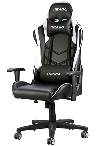 Hbada Gaming Stuhl Computerstuhl Kunstleder Bürostuhl Höhenverstellung Neigungsverstellung Ergonomisches Design mit Kopfstütze und Ledenkissen Weiß