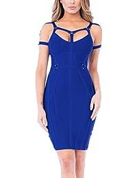 Eozy Women Low-Cut Neckline Mini Dress Strappy Bandage Dress