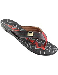 ADX Black::Red Color Slippers For Men