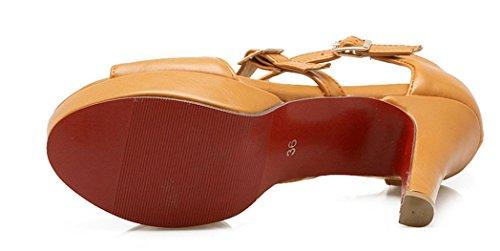 YE Damen Peep Toe 10CM Abstaz High Heels Plateau T-Spangen Sandalen mit Schnalle Sommer Schuhe Grau