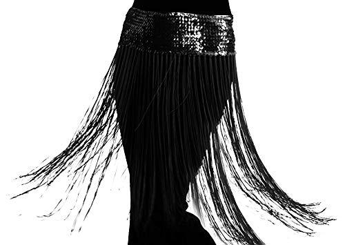 UPLEYING Langer Bauch Quaste Tanz Hüfttuch Kostüm Tanz Gürtel Frauen Erwachsene - Tanz Kostüm Fringe Skirt