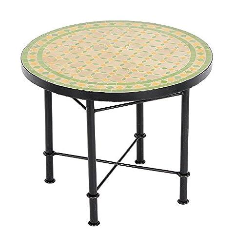 Marokkanischer Mosaiktisch Buri 60cm COUCHTISCH Gartentisch Beistelltisch Terrassentisch Fliesentisch Balkontisch (Buri: (Buri Natur)