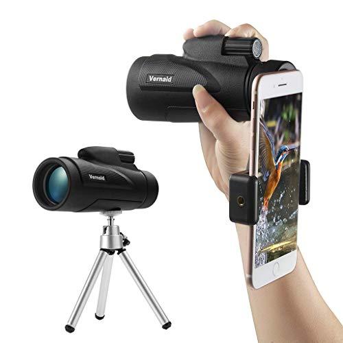 Kimddt 40x60 Monokular Teleskop für Erwachsene, HD High Power Bak4 Prism Monocular Monocular Scope mit Smartphone Adapter Tripod für Birdwatching Jagd Camping Sightseeing Prism Mobile