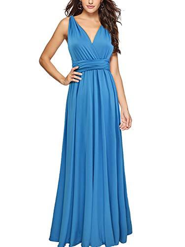 PERSUN Damen convertible multi way wrap maxi kleid lange partei griechische kleider groß azure blau