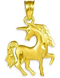 Petits Merveilles D'amour - 10 ct 471/1000 Diamant Coupe Or Licorne- Collier Pendentif (Livré avec un 45 cm Chaîne)