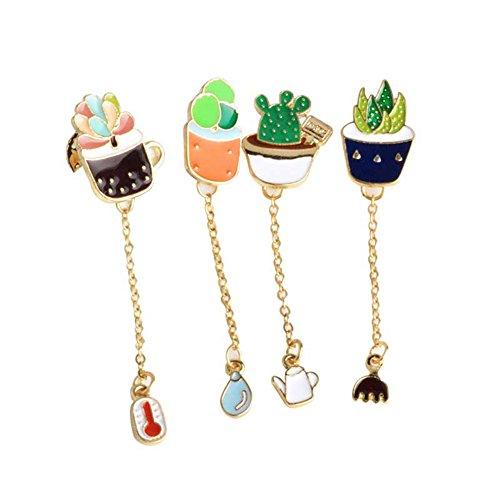 Brooch Pin Sets, 4 Pcs Cute Mini Cartoon Cactus Zinc Alloy Lapel Pin for Backpack Decoration