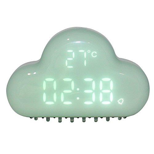 Reloj despertador de nubes Reloj despertador creativo Mini Relojes de viaje para el hogar Control de sonido Reloj despertador de escritorio digital Reloj y pantalla de LED Función Snooze (Azul)
