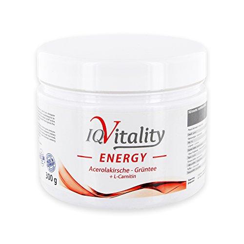 IQ-Vitality Energy, Konzentration u. Leistungsfähigkeit steigern, Gegen Müdigkeit u. Erschöpfung, Mehr Energie im Beruf, Uni u. Sport, mit Niacin, Taurin, Guarana, Grüntee-Extrakt, L-Carnitin (300 g)