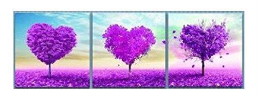wowdecor Malen nach Zahlen Kits für Erwachsene Kinder Senioren Junior Anfänger, Malen nach Zahlen Set von 3 Stück Pack - Lila Liebe Herz Baum 16 x 20 x 3p Zoll Framed -