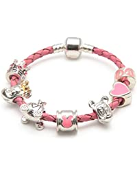 Liberty Charms Childrens Fairytale Dreams Pink Leather Charm Bead Bracelet With Silver Plated Clasp. (Other sizes available)With Gift Box.