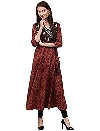 [Sponsored]Jaipur Kurti Women's Cotton Angrakha Style Long Kurta With Tassels & Embroidery (Maroon)