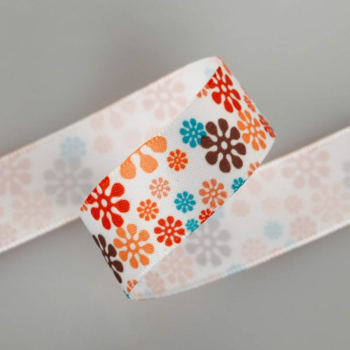 Neotrims Daisy Floral Snowflake Printed Satin Ribbon Online By the Yard 16, 25mm. Snowflakes Flower Ruban; A Floral Design, Best Quality Satin Ribbon, Beautifully Soft and Lustrous Polyester Ribbon. 16mm and 25mm Widths, sold as a 6 mts Value pack of mixed sizes Or 6 mts of any one Colour or Size. Gorgeous and Unique! Trim It, Decorate, Accessorise. by