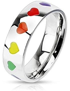 Paula & Fritz® Band Ring aus Chirurgenstahl Edelstahl 316L Band mit Herzen in Regenbogenfarben verfügbare Ringgrößen...