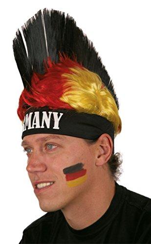 erücke Deutschland schwarz rot gold Deutschland-Perücke Irokese Herren Damen WM 2018 Kostüm Perücke Punker Fan Deutschland EM 2016 Zubehör (Schwarze Und Rote Kostüme Perücke)