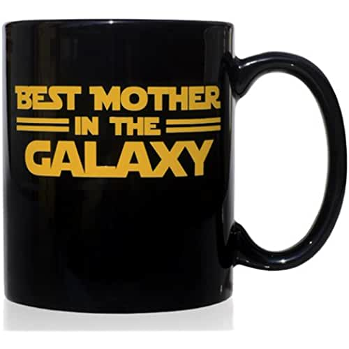 taza del dia de la madre Taza mug desayuno de cerámica negra 32 cl. Modelo Best Mother in the Galaxy