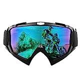 Shirylzee Motorradbrillen Skifahren Skibrillen UV Schutzbrille Sonnenbrille Anti Fog Staubdicht Winddichte für Wandern, Radfahren, Klettern, Reiten, Snowmobile, Outdoor Sport - Bunte Linse