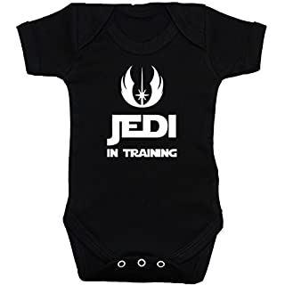 Acce Products Jedi in Training Baby Bodysuit/Romper/Vest/T-Shirt - 0-3 Months - Black