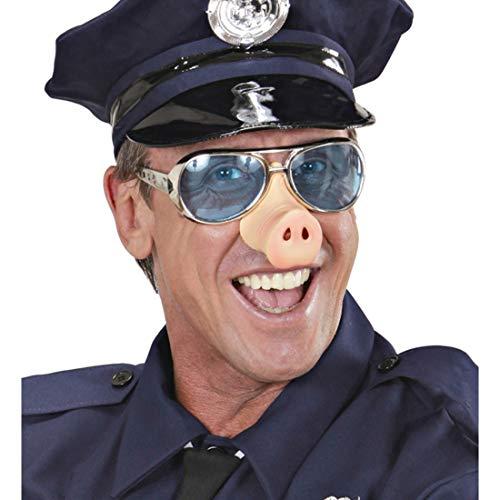 NET TOYS Fun-Brille mit Schweine-Nase | Hautfarben-Silber-Blau | Lustige Unisex-Verkleidung Polizei Nasenbrille | Geeignet für Junggesellenabschied & Mottoparty (Nettes Schwein Nase)