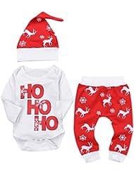 """Conjuntos Navidad de Ropa para Bebé Recién Nacido Infantil, LILICAT Letra """"Ho Ho Ho"""" con estampado de mameluco, Tops + Elk Pants + Sombreros, 3 Piezas Trajes de Niña Bebé (6 M, Rojo)"""