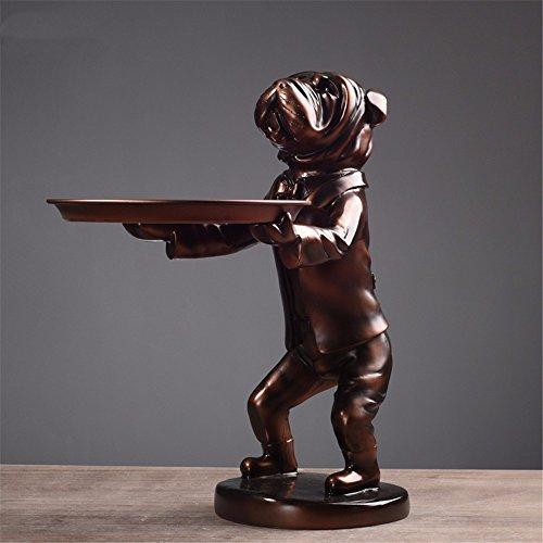 Preisvergleich Produktbild Kreative Tiere Eingang Dekoration Pug Schweinefleisch fach Lagerung Wohnzimmer Aschenbecher Venture Dekoration, Bronze