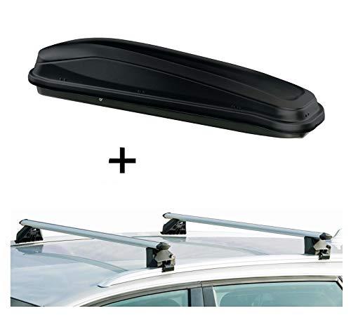 VDP Dachbox JUEASY300 300Ltr schwarz + Relingträger CRV107A kompatibel mit Mercedes C-Klasse Kombi IV 5 Türer ab 2015