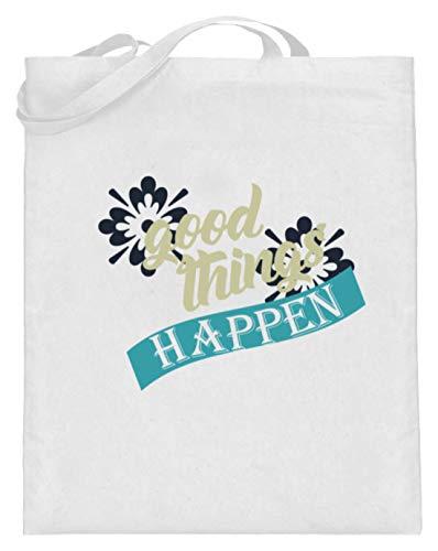 SPIRITSHIRTSHOP Good Things Happen - Gute Dinge Passieren - Schöne Dinge Geschehen - Positiv Denken, Leben - Jutebeutel (mit langen Henkeln) -38cm-42cm-Weiß -