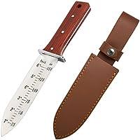 Protector Tech Digger – rostfreies Messer-Handschaufel für Metalldetektor und Umgraben in Gartenarbeit (mit Rot-Holz-Griff und brauner Ledertasche)