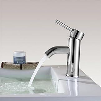 Contemporánea simple cromado sola manija baño grifo del fregadero