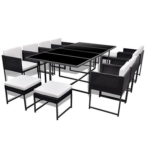 vidaXL 33-tlg. Gartenmöbel-Set Essgruppe schwarz Poly Rattan günstig ...