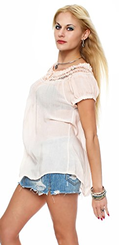 Cleostyle Bluse Dame Sommerbluse Tunika Carmenbluse Top Bluse AM 412 Apricot
