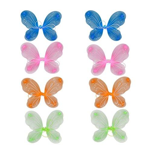 Prinzessin Schmetterling Fee Kostüm - LUOEM 8 Stücke Kinder Schmetterlingsflügel Mädchen Prinzessin Fee Kostüme 4 Farben