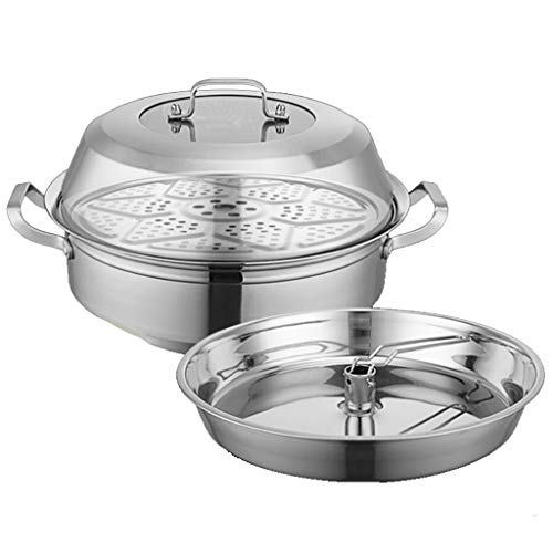 201 vapeur en acier inoxydable Hot Pot 36/38 / 40cm vapeur marmite à soupe 3 couches de fruits de mer à vapeur Pot Sauna Pot Induction Cuisinière Commercial Ménage Convient for 5-10 personnes