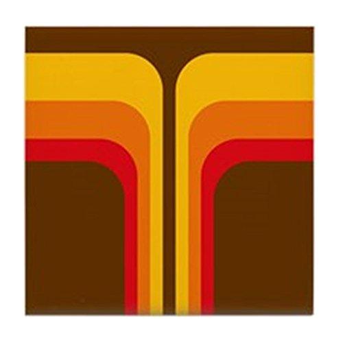 CafePress-Retro Geometrische braun-Tile Untersetzer, Drink Untersetzer, Untersetzer, Klein