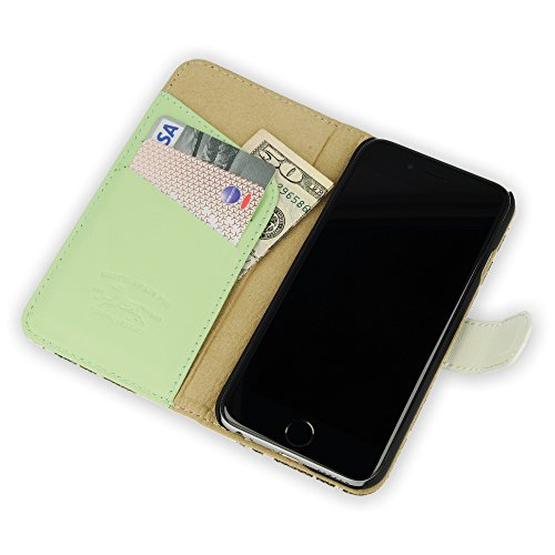QIOTTI >             Apple iPhone 6 PLUS / iPhone 6S PLUS (5,5&quot;)             < incl. PANZERGLAS H9 HD+ Booklet Wallet Case Hülle Premium Tasche aus echtem Kalbsleder und Japanischen Denim mit KARTENFÄCHER. CATCH KOLLEKTION ( WEISS