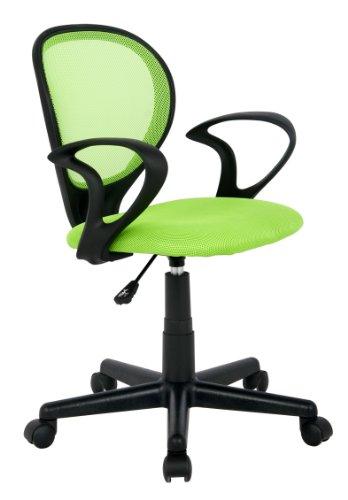 SixBros. Bürostuhl,Schreibtischstuhl, Drehstuhl für\'s Büro oder Kinderzimmer, stufenlos höhenverstellbar, Schreibtischstuhl für Kinder aus Stoff, grün, H-2408F/1408