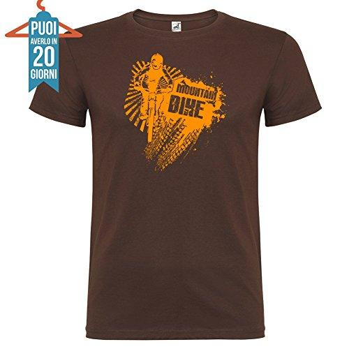 T-Shirt manica corta Unisex Mountain Bike By Bikerella Cioccolato/Arancione