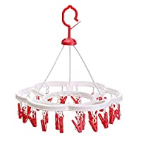 Multifunctional 24 Clip Hanger Balcony Foldable Clothes Stand Nordic Style Plastic Material Round Drying Rack Suitable for Balcony Garden Diameter 37.5cm