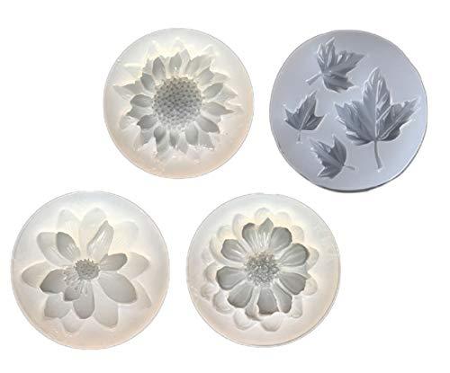 Yalulu 4 Stück Blume Ahornblatt Gießform Silikon Mold Kette Schmuck Basteln Gießform DIY Silikon Anhänger Halskette Basteln Schimmel -