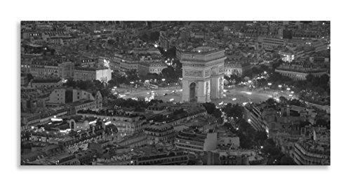 Arc de Triomphe Paris Landmark Night Lights schwarz und weiß Panorama Leinwand Schwarz und Weiß ART Wand Dekoration für Wohnzimmer Badezimmer Schlafzimmer Küche Home Decor Bild Single Panel gerahmt Panorama Leinwandbild, gerahmt, schwarz / weiß, 40