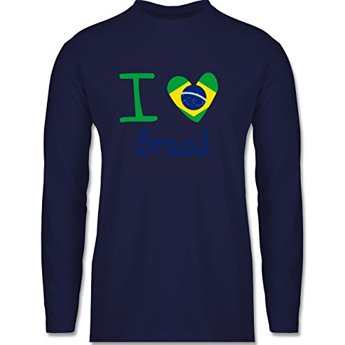 Shirtracer Länder - I Love Brasil - Herren Langarmshirt Navy Blau