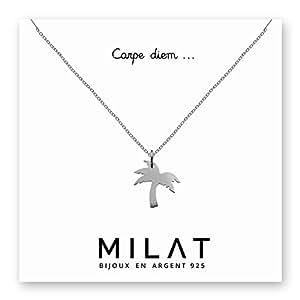 Collier Pendentif palmier - Argent 925 - Idéal cadeau à offrir - Chaîne 45cm - Carte avec message