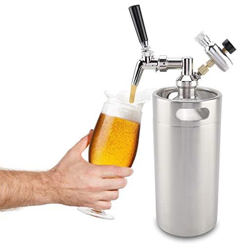 Acogedor Mini Keg mit Keg-Regler und Bierzapfpistole S 3.6LStainless Beer Drückersystem mit Druckbeaufschlagung,Verstellbarer Bierspender mit Zapfhahn mit Zapfhahn Druckbeaufschlagt, Getränkespender (Zapfhahn Mit Kühlschrank)