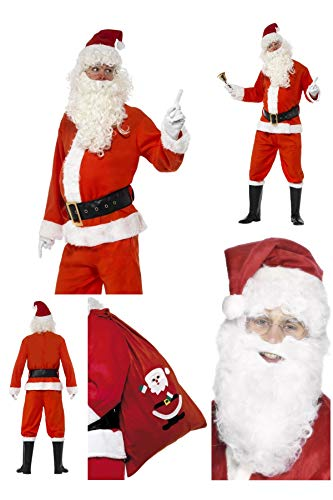 Deluxe Complete Santa Claus Father Christmas Costume - Trousers Jacket Belt Gloves Boot Covers FREE Santa Beard & Sack - Santa's Grotto Party Fun 24497 655 (Adult Mens Large UK 42-44 34585)