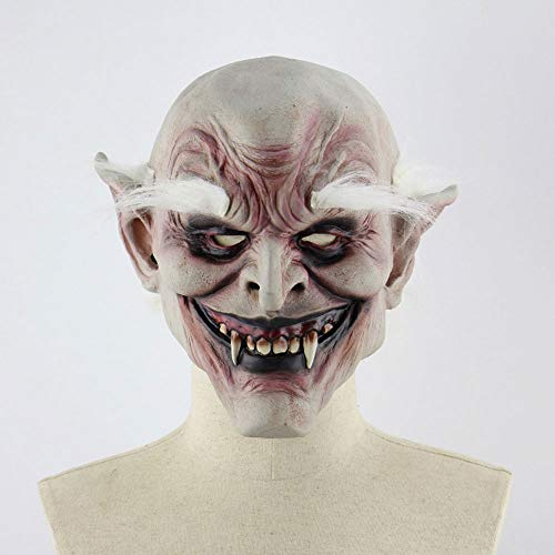 Edelehu Weiß-Browed Alten Dämon Vampir Halloween Maske Beängstigend Gruselige Horror Cosplay Kostüm Bandana Latex Beängstigenden Kopf ()