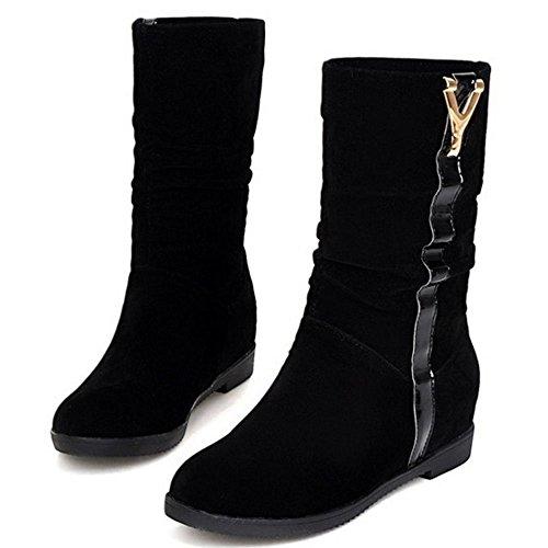 RAZAMAZA Femmes Bottes Slouch Mi-Calf Plat H Black