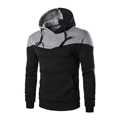 ❤️Sweatshirt Homme, Amlaiworld Hiver Sweat à Capuche Hiver Slim Sweat Capuche Chaud Veste Manteau Outwear Pull (L, Noir)