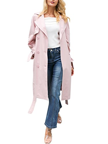 Simplee Apparel Damen Mäntel Elegant Casual Lang Double Breasted Trenchcoat Coat mit Gürtel Rosa (Double Jeans Breasted)